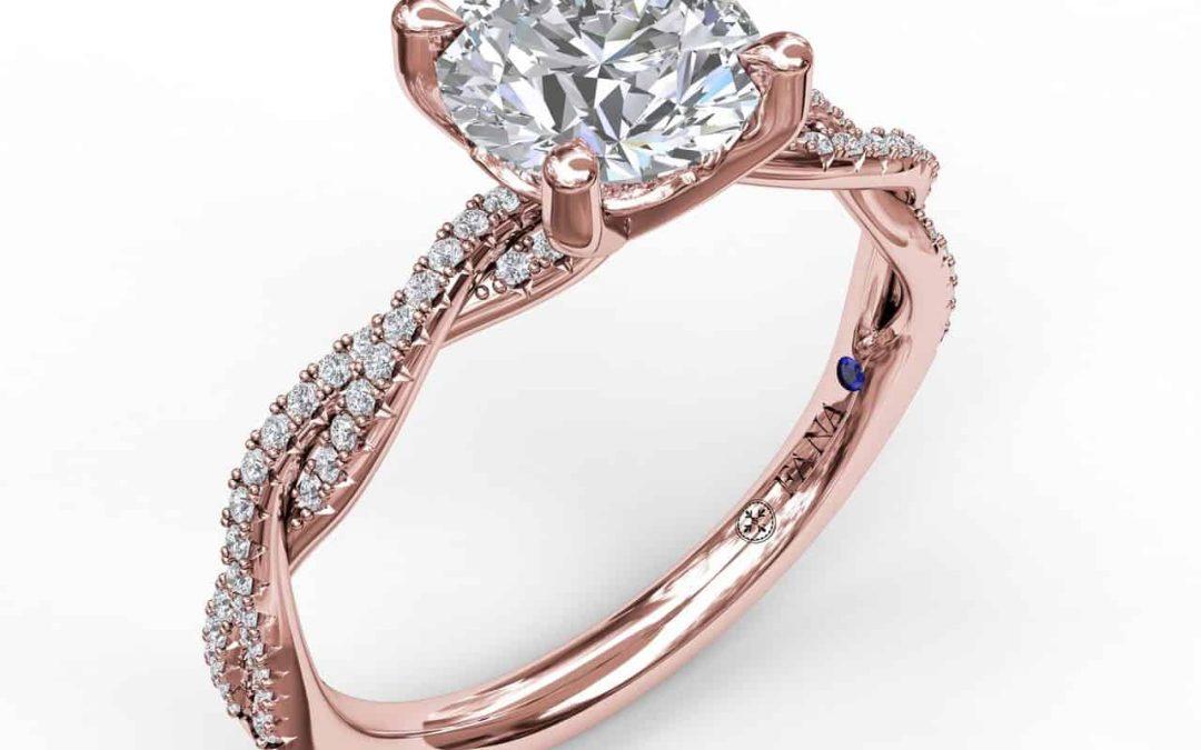 Petite Diamond Twist Engagement Ring Set in Rose Gold