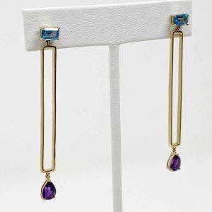14kt Yellow Gold Amethyst & Blue Topaz Drop Earrings
